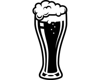 Beer Glass #1 Ale Suds Bar Pub Tavern Bartender Drink Alcohol Liquor Logo .SVG .EPS .PNG Instant Digital Clipart Vector Cricut Cut Cutting