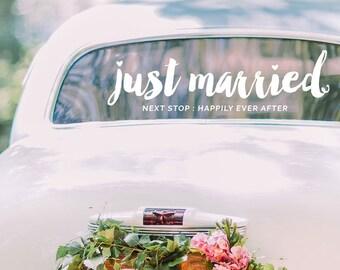 Just Married Decal / Vinyl Decal / Wedding Decal / Wedding Decor / Wedding Decal Modern / Happily Ever After Wedding