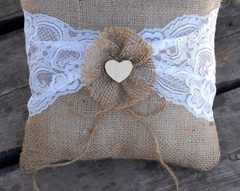 Burlap and Lace Wedding Ring Bearer Pillow