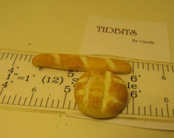 Bread Duo for Dollhouse one inch scale miniature