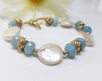 Aquamarine Bracelet, March Birthstone Bracelet, March Birthday Gift for Her, Fancy Bracelet, Wedding Bracelet Pearl, Bridesmaid Gift