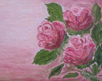 Pink roses oil painting