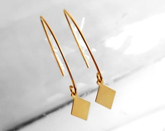 Geometric Gold Plated Earrings, Rhombus Hook Earring, Gold Plated Jewelry, Dangle Earring, Modern Ear Jewelry, Gift for Her