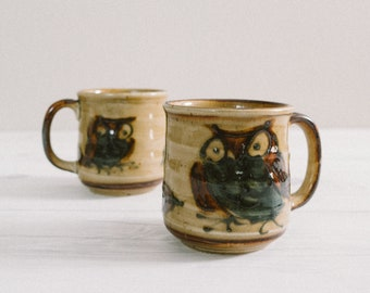 Set of 2 Ceramic Owl Mugs