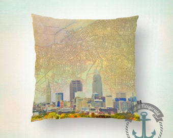 Throw Pillow | Cleveland | City Skyline with Map | Toss Pillow | Size and Price via Dropdown