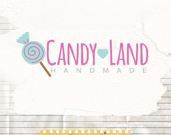 Premade business logo design, candy shop logo, lollypop logo, premade logo, watermark logo
