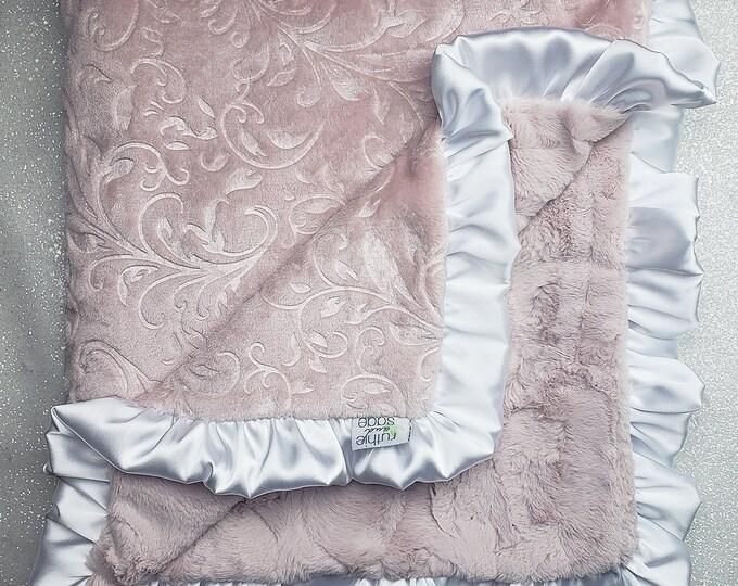 Minky blanket, faux fur throw, Rosewater hide, paisley minky, elegant baby girl blanket, vintage pink, plush blanket, gift idea, adult minky
