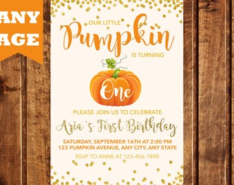 Pumpkin Birthday Invitation, Pumpkin Birthday, Pumpkin Invitation, Our Little Pumpkin, First Birthday Invitation, Halloween Birthday, Girl