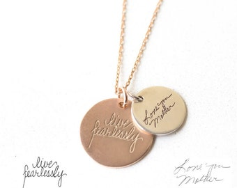 Actual Handwriting Disc Necklace - Signature Disc Necklace - Handwriting Jewelry - Mother Gift - Christmast Gift