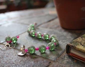 Wire Wrapped Green Glass Bracelet