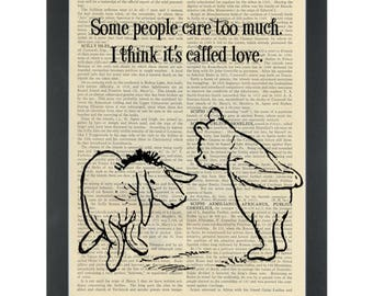 Winnie pooh eeyore quote Care too much Dictionary Art Print