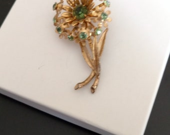 Vintage Gold Tone and Green Rhinestone Floral Brooch