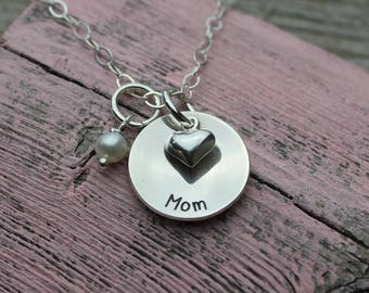 Mom Charm  Necklace, Sterling Silver