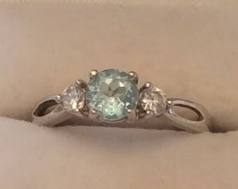 Authentic Vintage BLUE TOPAZ And Gemstone Sterling Silver 925 RING, Engagement, Promise, Friendship, Birthday, Free Postage.