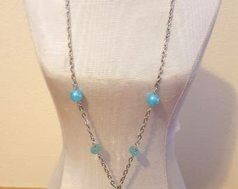 Bohemian Style Bead Necklace Turquoise Aqua White Silver Beach Free US Shipping
