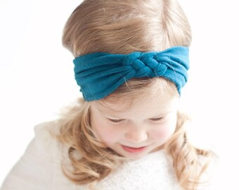 Headband, Celtic Knot Headband, Headbands, Baby Headbands, Turban Headband, Top Knot, Head Wrap, Infant Headband, Baby Gift - Solid Teal