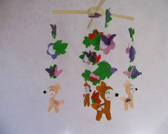 Baby mobile Baby girl mobile Butterfly mobile Nursery mobile Crib mobile Felt baby mobile Felt butterfly mobile Woodland mobile Animals