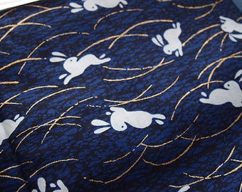 Japanese cotton fabric Bunny Blue dragonflies gold traditional patchwork 110 * 50 cm