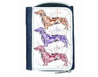 Dachshund denim purse, navy purse, denim purse, dachshund gift, dog wallet, dachshund purse, dog gift