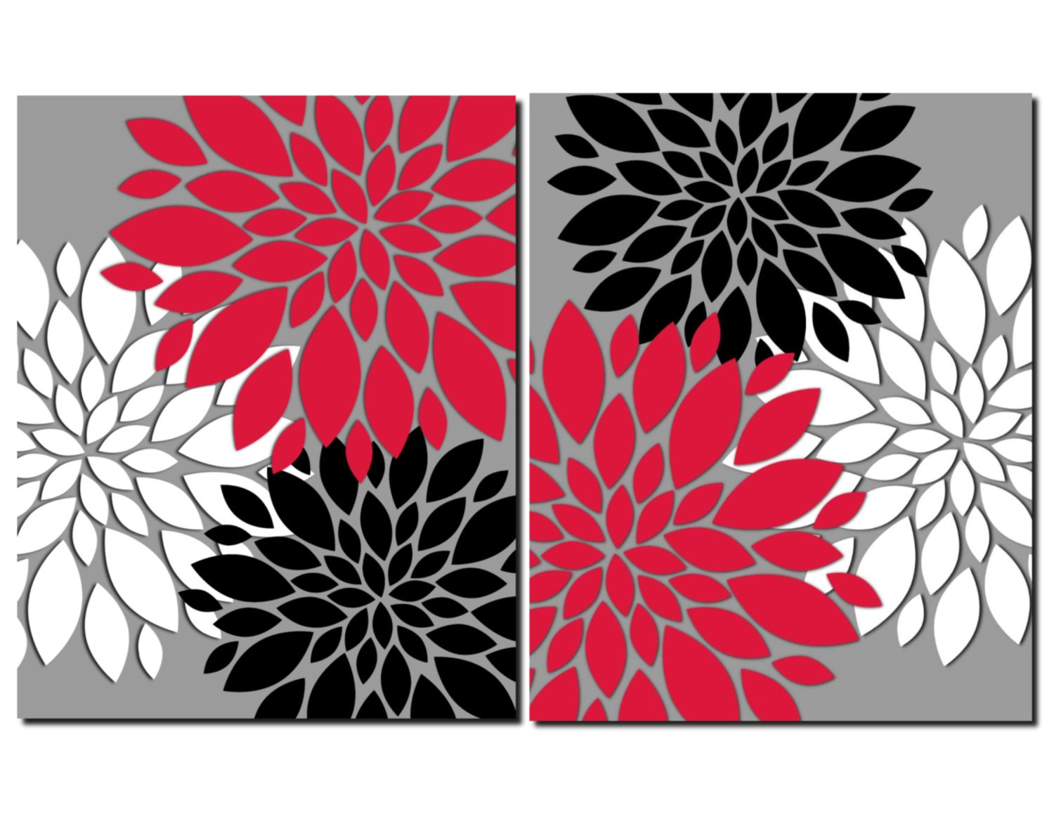 Red gray black white wall art prints or canvas bathroom decor for Black white red bathroom decor