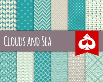 Clouds and Sea Digital Paper Pattern Clipart