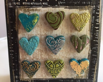 mixed media art with blue and green hearts- polymer clay heart art block