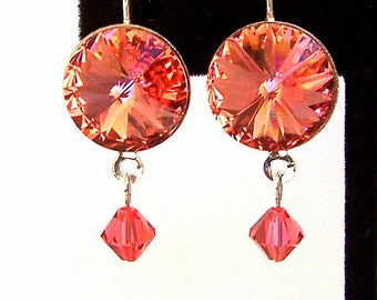 Rivoli Rose Peach earrings, Swarovski crystal Rose Peach earrings, bridal earrings, peach pink earrings, coral