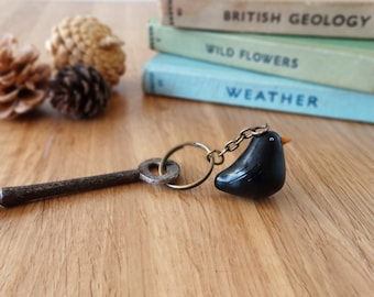By the Shed Black Bird Keyring - Blackbird - Garden Birds - Gardening - Gift, Present - Good Life - Countryside, Landscapes - Charm, Chain