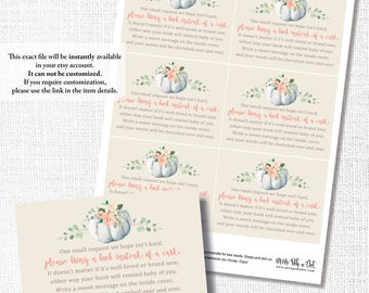 Pumpkin Books For Baby Card, Printable, Fall Baby Shower Stock The Library Insert Card, Request, Bring A Book, Instant Download, Digital
