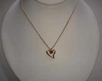 Gold Filled Heart with Garnet Pendant and Necklace