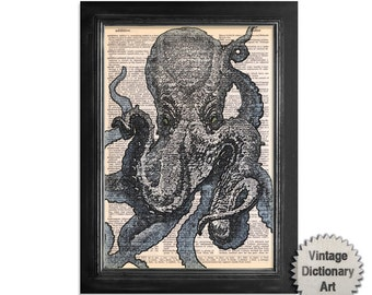 Octopus Extrem Close Up - Marine Life Art Print on Vintage Dictionary Paper - 8x10.5