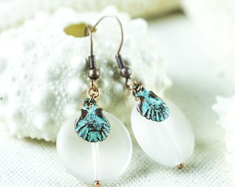 Seashell Jewelry, Matte clear Earrings, Patina, Sea glass jewellery, Beaded Earrings, Sea jewelry, Nautical Seashell Rustic Beach Earrings