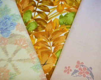 Vintage Japanese silk kimono fabric pack for craftwork patchwork quilting VP7