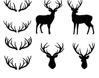Deer, deer head, antlers SVG files for Silhouette Cameo and Cricut. Clipart PNG included.