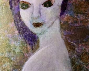 "Mixed Media Original 11 x 14 canvas panel painting ""Recognize Me"""