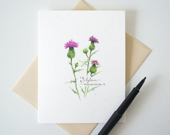 Milk Thistle Blank Notecard - Wildflower Stationery - Botanical Watercolor Print A2 Card