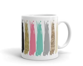 Mug, Coffee Mug, Tea Mug, Paint Mug, Glitter, Paint and Glitter Mug, Paint and Glitter, Painted Mug, Glittery Mug