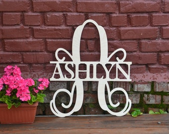 Unpainted - Gold - Silver Monogram door hanger, Letters for wall, nursery wall décor, wooden letters, wooden signs, baby name, wall hanging