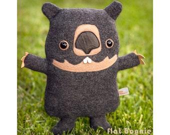 Wombat stuffed animal, Handmade plush soft toy doll, Cute wombat plushie, Kawaii wombat baby softie, Australia wildlife gift, Flat Bonnie