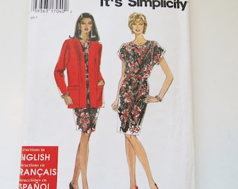 Simplicity Dress and Jacket Pattern/ Pattern 9705/ Sizes 8 to 18/ 90s Dress Pattern/ Sew Easy