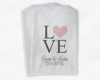 Personalized Candy Buffet Bags - Love and Hearts Custom Favor Bags for Wedding in Blush Pink and Gray - Paper Treat Bags (0065)