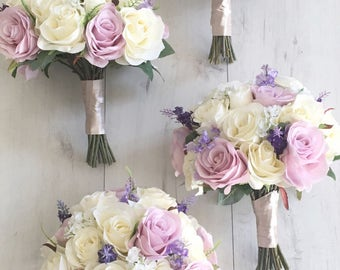 Lilac and ivory silk flower wedding bouquet