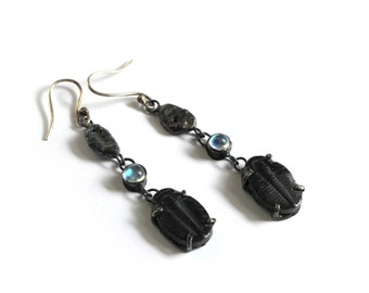 Moonstone and Trilobite Flash and Fire Earrings