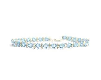 Saphir Blau Fußkettchen - Perle Knöchel-Armband - Kette Fußkettchen - Fuß Schmuck - Strand Fußkettchen - zarte Fußkettchen - Perlen Fußkettchen