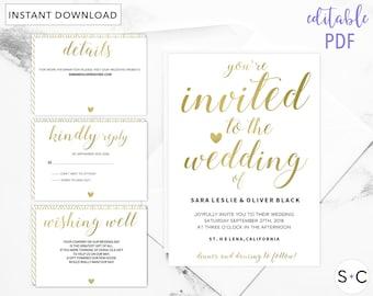GOLD Wedding Invitation Template, Gold Wedding Invitation, Wedding Invitation Printable, Metallic Wedding Invitation,
