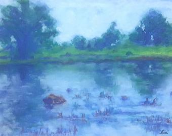 Original Impressionism Nature Reflective Water Scene California Landscape Painting  by Niki Hilsabeck