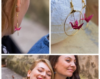 """Crane origami """"Pink Lady"""" and gold hoop earrings"""