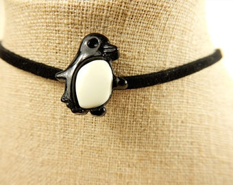 Penguin Choker, Black Choker, Faux Suede Choker, Penguin Charm, Upcycled Button Jewellery