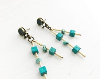 Fiona Earrings // Turquoise Semi Precious Stones  + Handmade Jewelry + Bohostyle