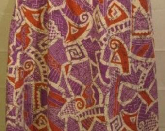 1980s Elastic Waist Tribal Print Skirt